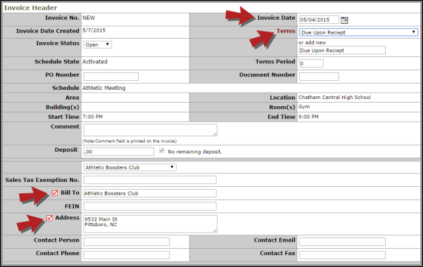 Manual Invoicing - Invoice header